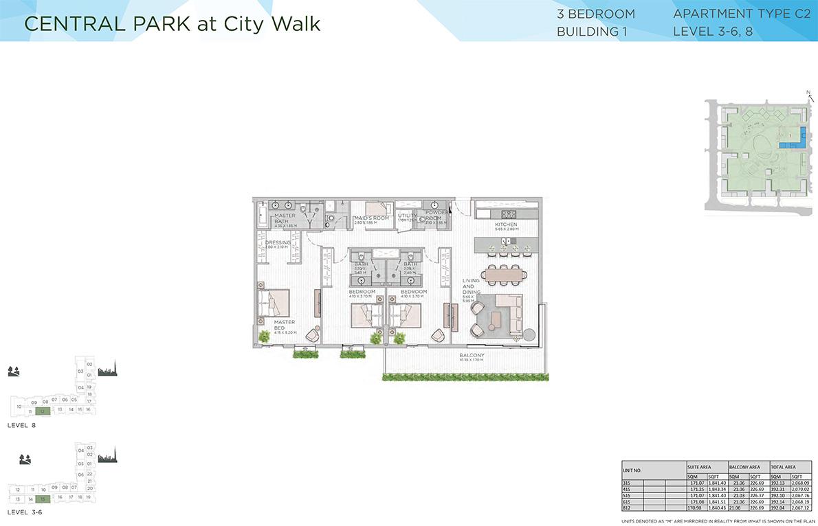 Floor Plans Central Park Apartments By Meraas At City Walk Dubai